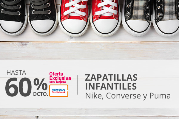 Hasta 60 porciento de descuento en Zapatillas Infantiles