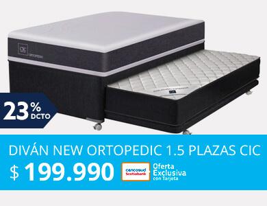 Diván New Ortopedic Black 1.5 Plazas Cic