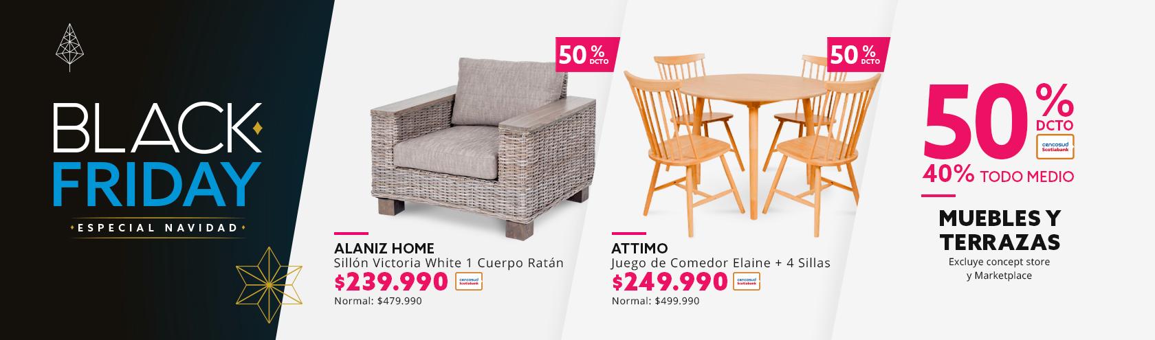 50/40 Muebles y terrazas. Excluye concept store y Marketplace.