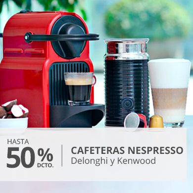 Hasta 50 porciento en Cafeteras nespresso delonghi y kenwood