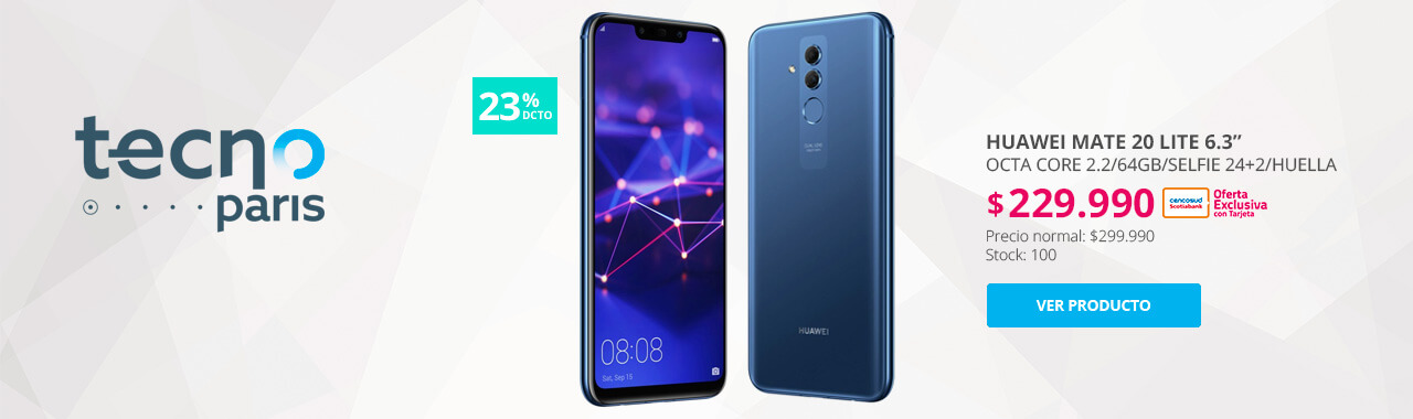 23 por ciento menos con tarjeta cencosud en celular Huawei Mate 20 Lite