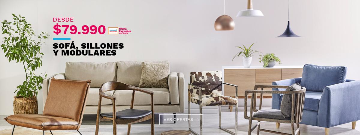 Desde 79990 pesos con tarjeta cencosud en sofa sillones y modulares