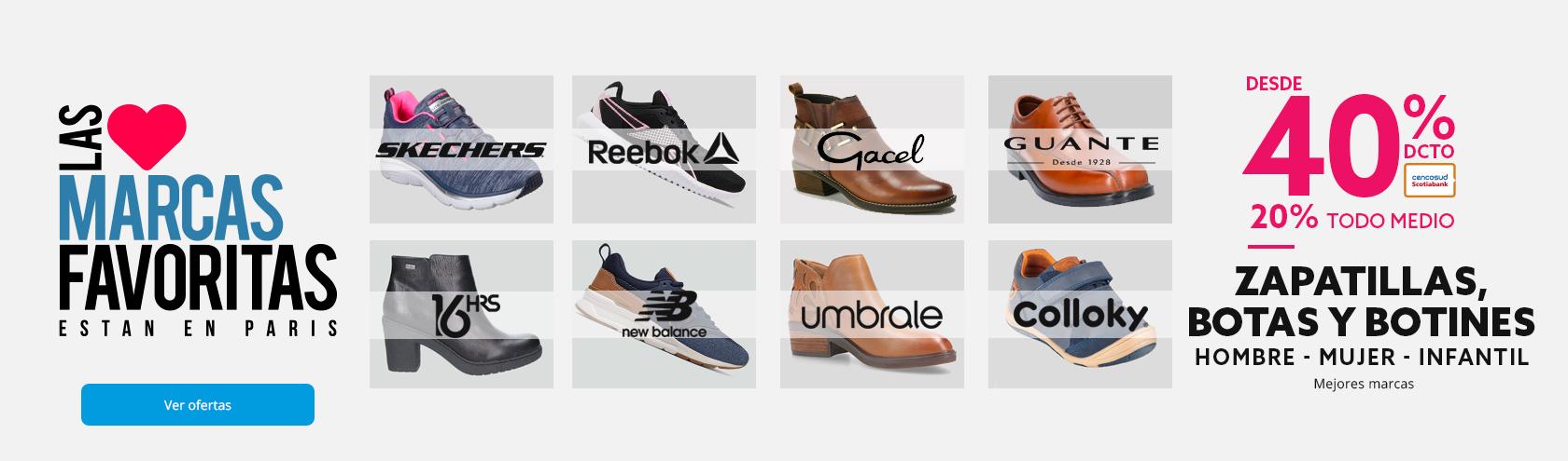 40% de descuento con tarjeta cencosud y 20% de descuento todo medio en zapatillas botas y botines