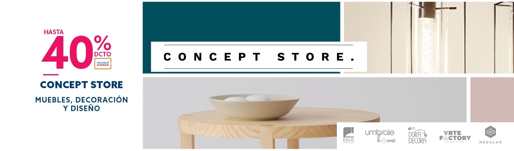 Hasta 40% de descuento con tarjeta cencosud en concept store muebles decoracion y diseño