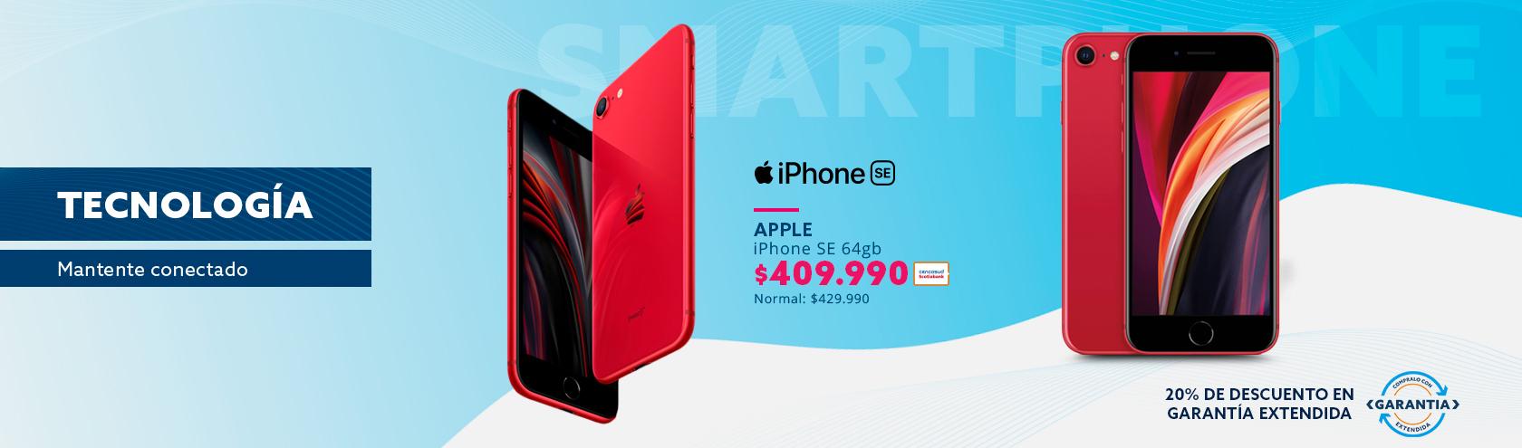 iPhone SE 64GB a $409.990 con Tarjeta Cencosud