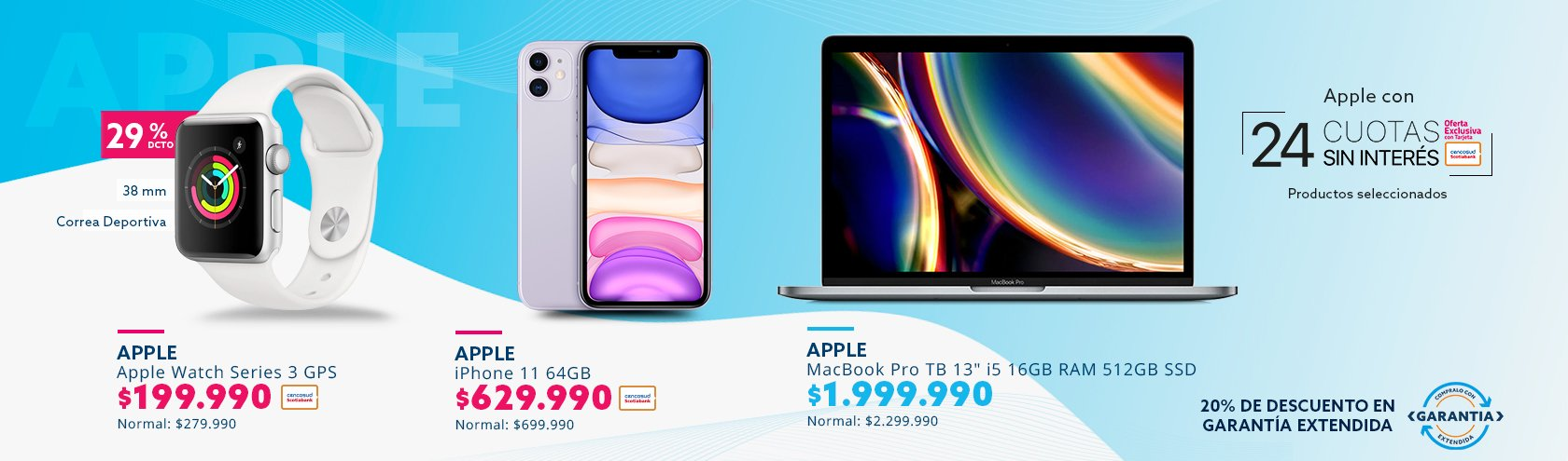 Descuento en Apple Watch, iPhone 11 y Macbook Pro 13 pulgadas
