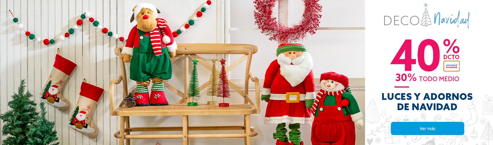40% con Tarjeta Cencosud y 30% con Todo medio pago en Luces y adornos de Navidad