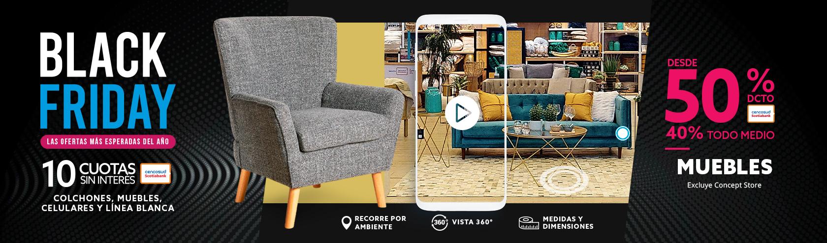 Desde 40 porciento de descuento en Muebles, excluye concept store.