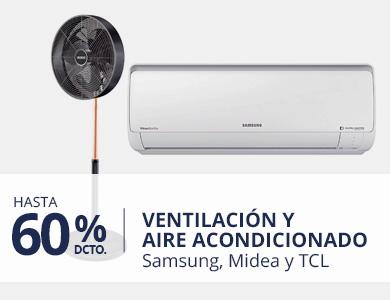 Hasta 60% en Ventilación y Aire Acondicionado (logo Samsung, Midea, TCL)