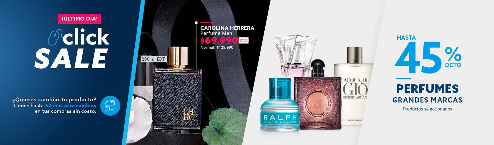 Hasta 45 porciento de descuento todo medio de pago en perfumes