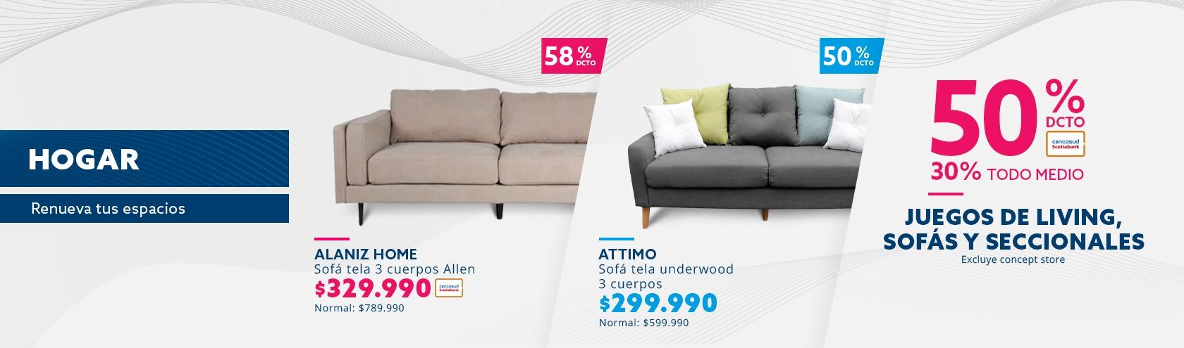 Juegos de living, sofas y seccionales. Excluye concept store