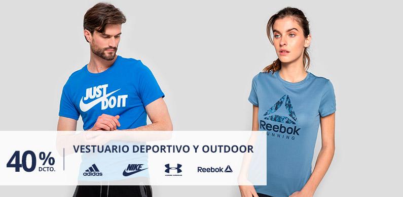 40/30% Dcto Vestuario Deportivo y Outdoor