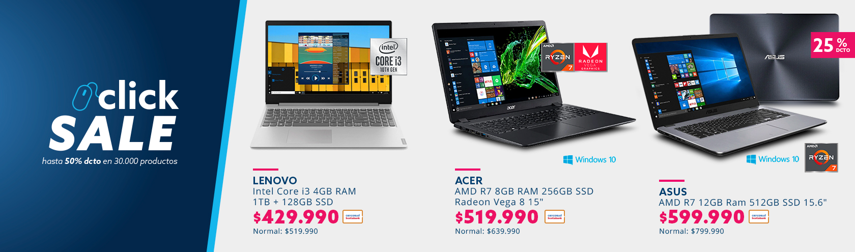 Notebooks Lenovo, Asus y Acer