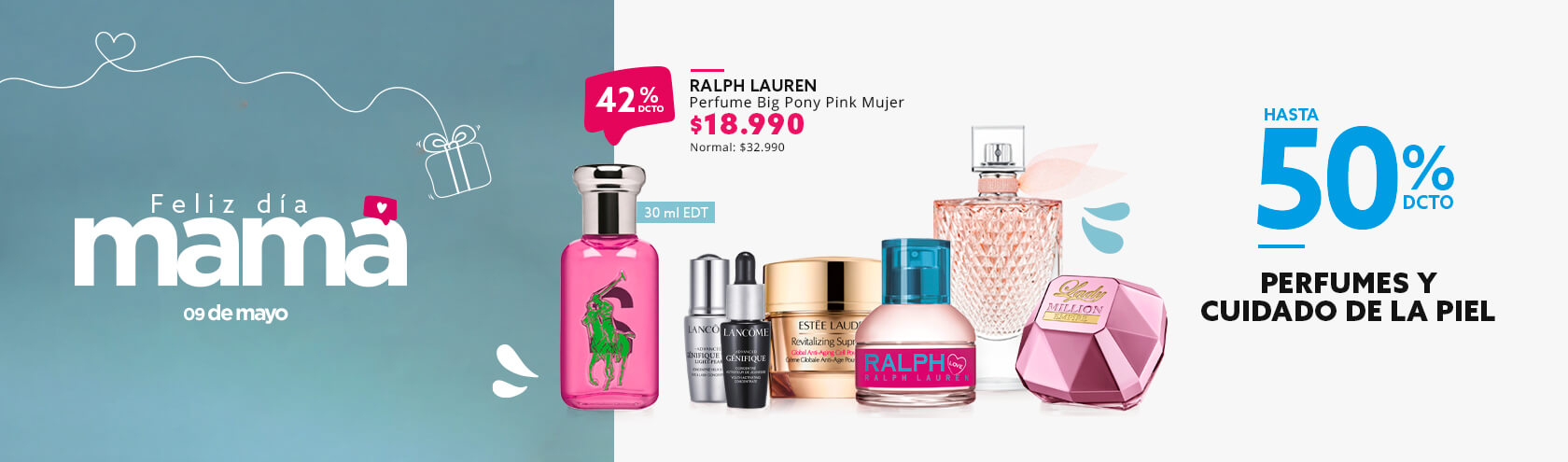 Hasta 50 porciento de descuento Perfumes y cuidado de la piel