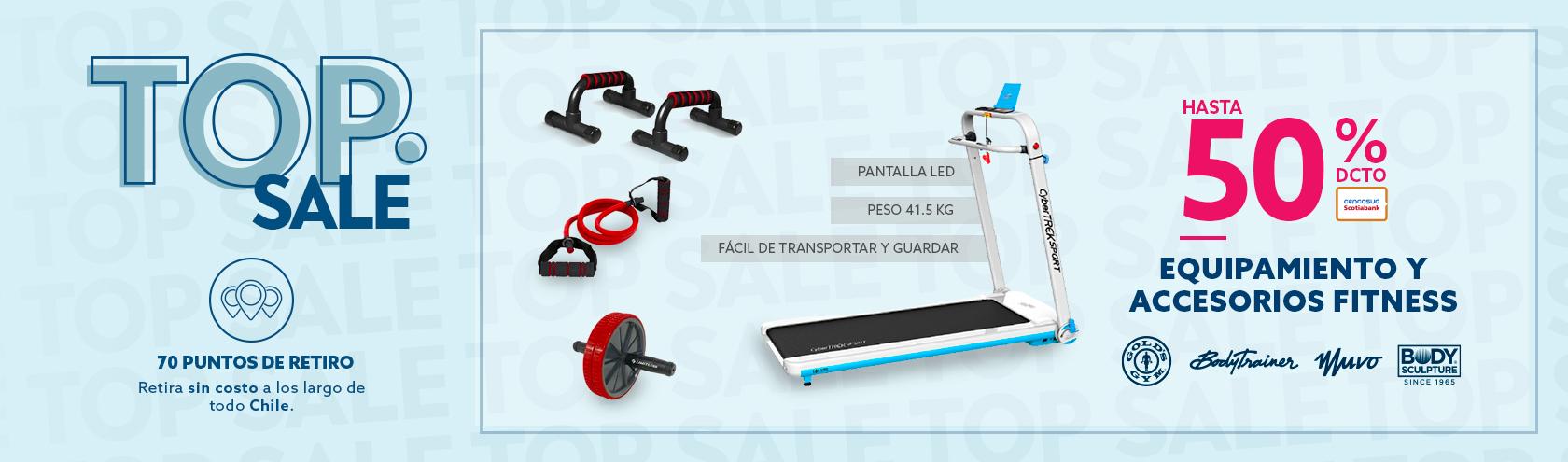 Hasta 50% equipamiento y accesorios fitness