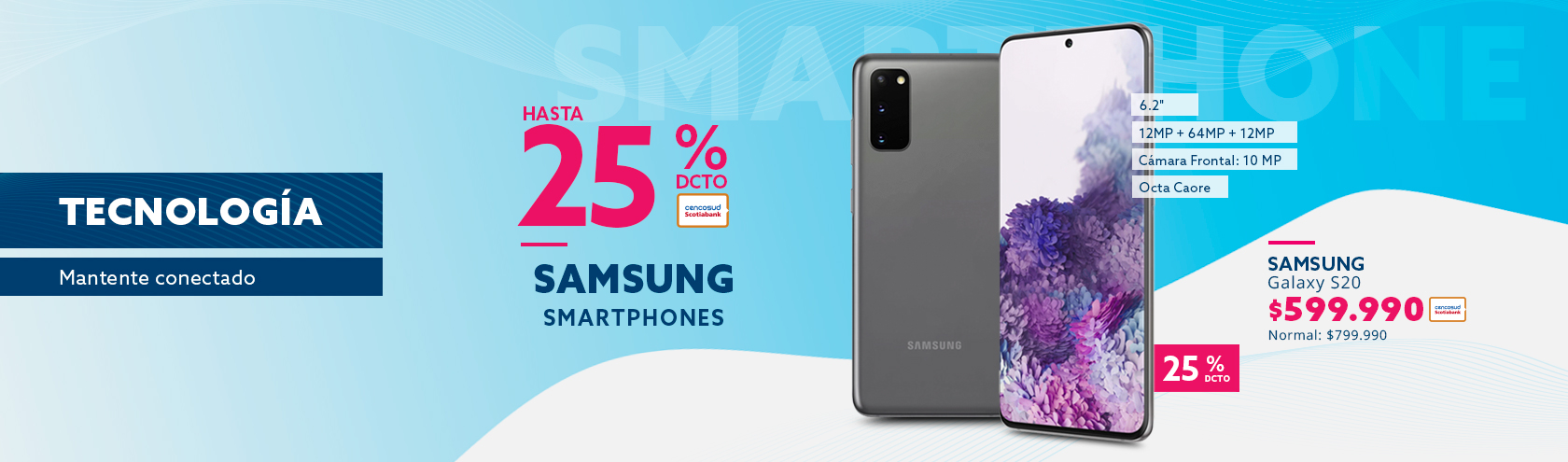 Samsung Galaxy S20 a $599.990