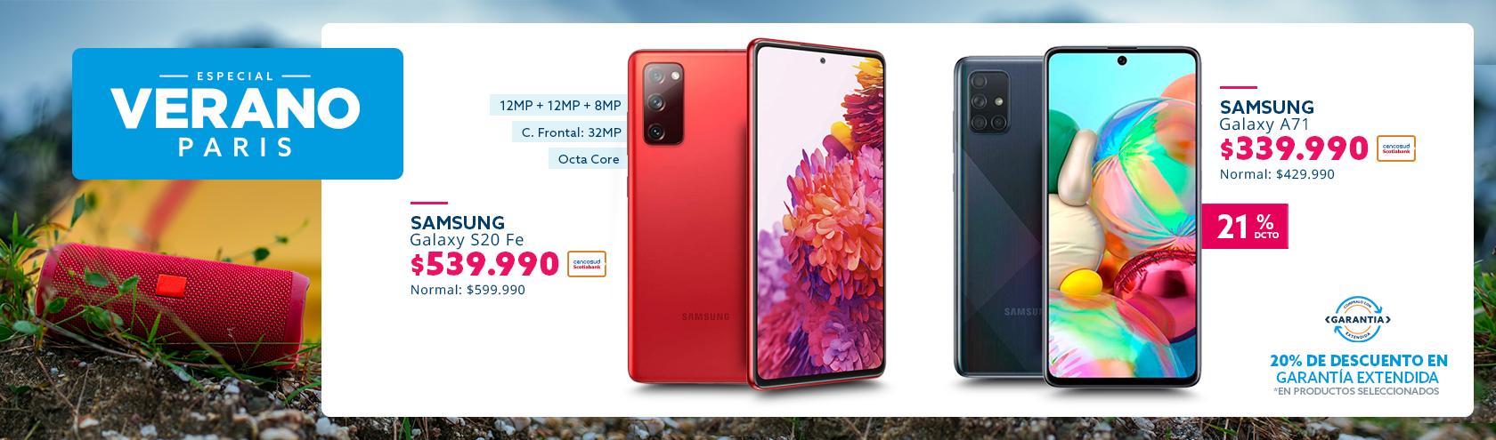 Especial Tecno Verano ofertas con tarjeta cencosud en smartphone Samsung
