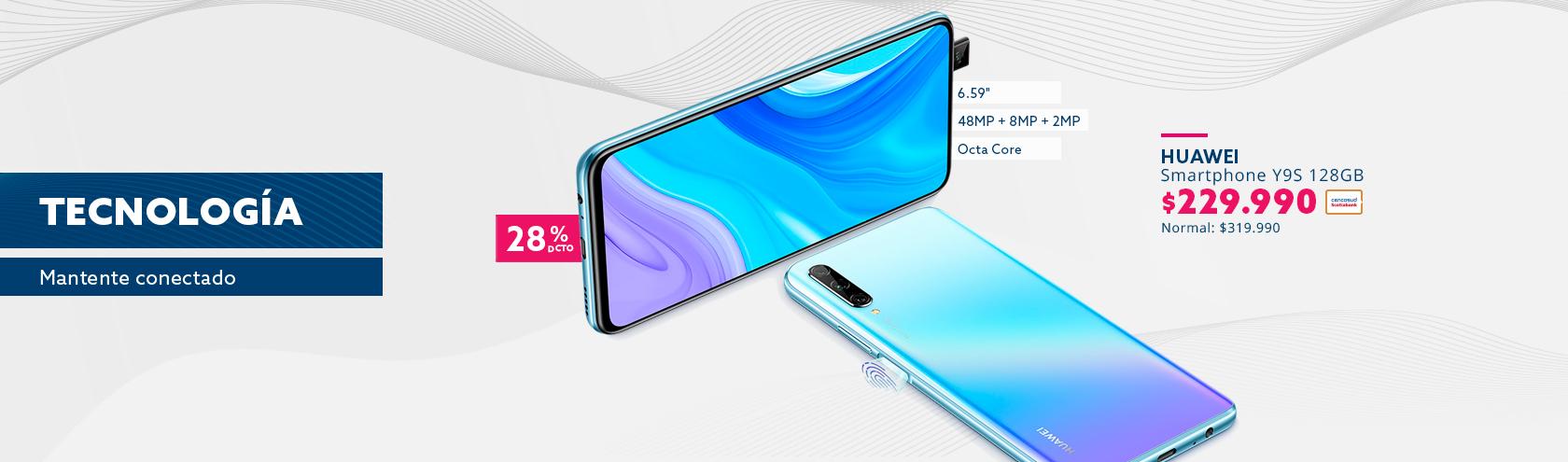 Smartphone Huawei Y9s a $229.990 pagando con Tarjeta Cencosud