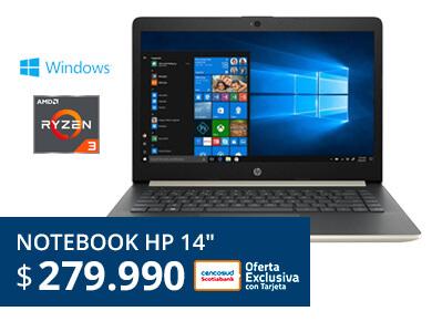 Notebook HP AMD Ryzen 3 4GB RAM/1TB DD/14