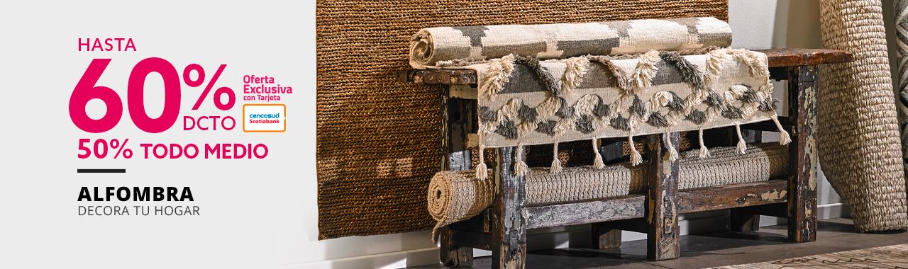 Hasta 60% de descuento con tarjeta cencosud y 50% todo medio en alfombras