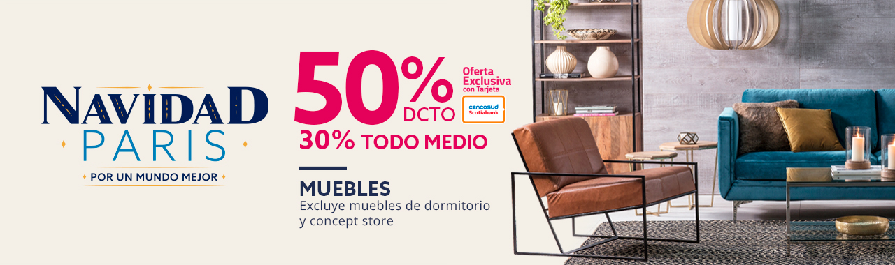 50 por ciento de descuento con tarjeta cencosud y 30 por ciento de descuento todo medio en muebles