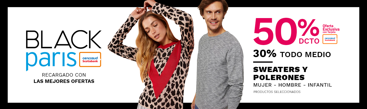 50/30 Sweaters y Polerones. Mujer, Hombre y Niño. Productos Seleccionados.