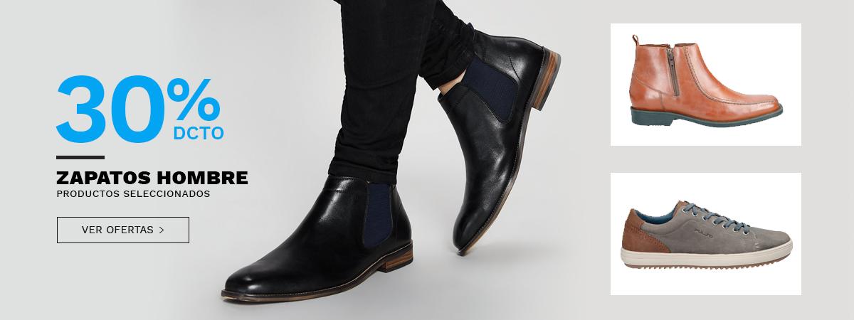 30 porciento de desscuento en zapatos hombre, productos seeccionados