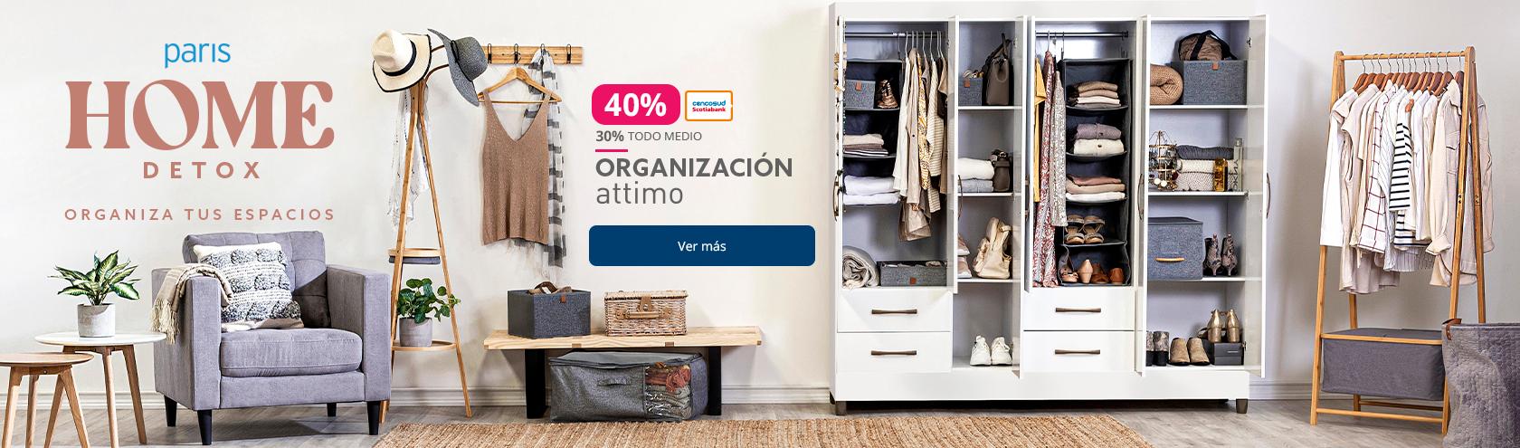 Hasta 40% de descuento con tarjeta cencosud y 30% todo medio de pago en organizacion hogar