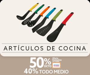 50 por ciento de descuento con tarjeta cencosud y 40 por ciento de descuento todo medio de pago en articulos de cocina