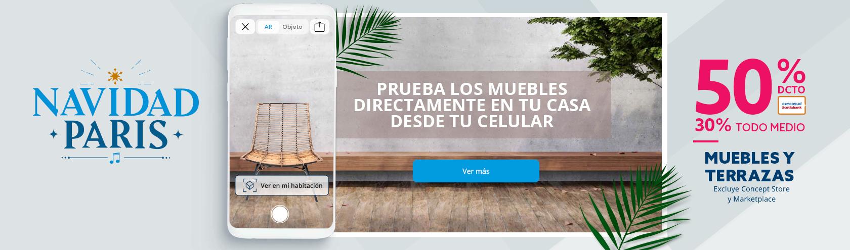 50% de descuento con tarjeta Cencosud y 30% de descuento con todo medio de pago en Muebles y Terrazas. Excluye concept store y Marketplace
