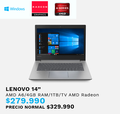 Notebook Lenovo AMD A6/4GB RAM 1TB/TV AMD Radeon/14