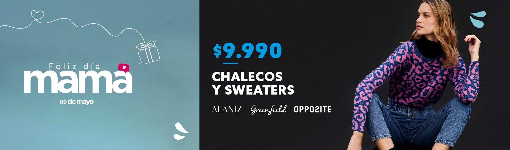 Chalecos y sweaters a $9.990