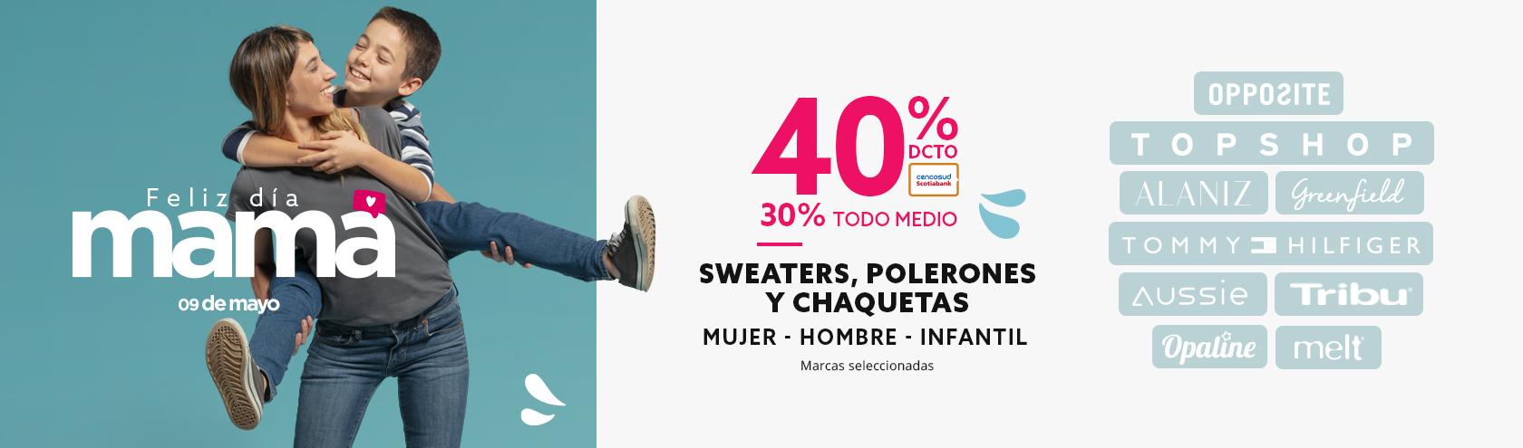 Hasta 40 porciento de descuento en sweaters, polerones y chaquetas mujer marcas seleccionadas