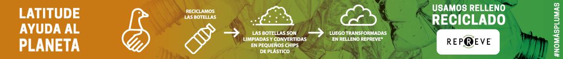 Latitude ayuda al planeta. Usamos relleno reciclado y no más plumas
