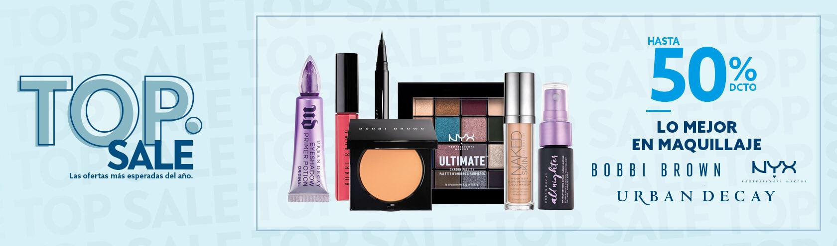 Hasta 50 porciento de descuento en Maquillaje