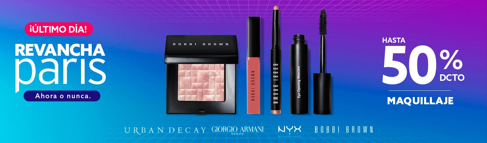 Hasta 50 porciento de descuento en maquillaje, Nyx Proffesional Make Up, Bobbi Brown, Urban Decay, Armani Make Up