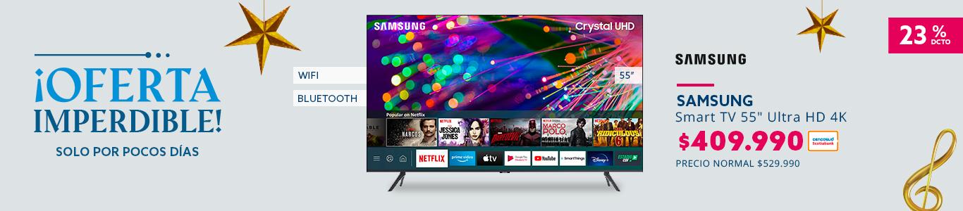 23% de descuento con tarjeta cencosud en smart tv samsung 55 pulgadas ultra hd 4k