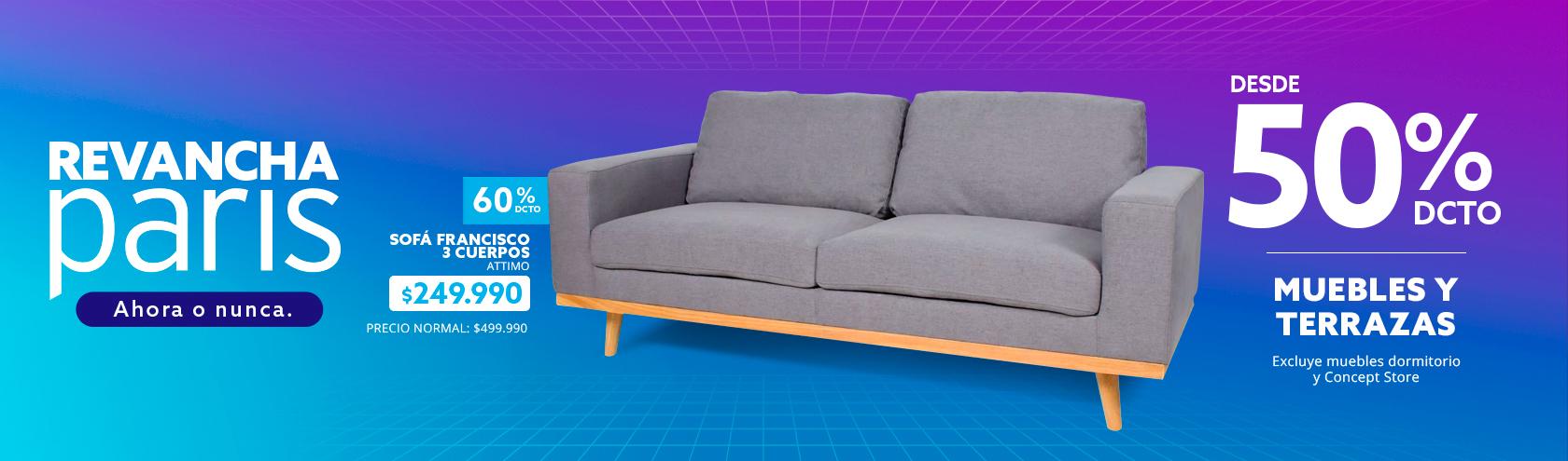 Desde 50% tmp muebles y terrazas. excluye muebles dormitorio y concept store