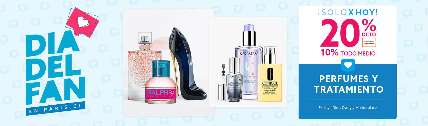 20/10 dcto en todo perfumes y tratamiento. Excluye Dior, Oway, Marketplace