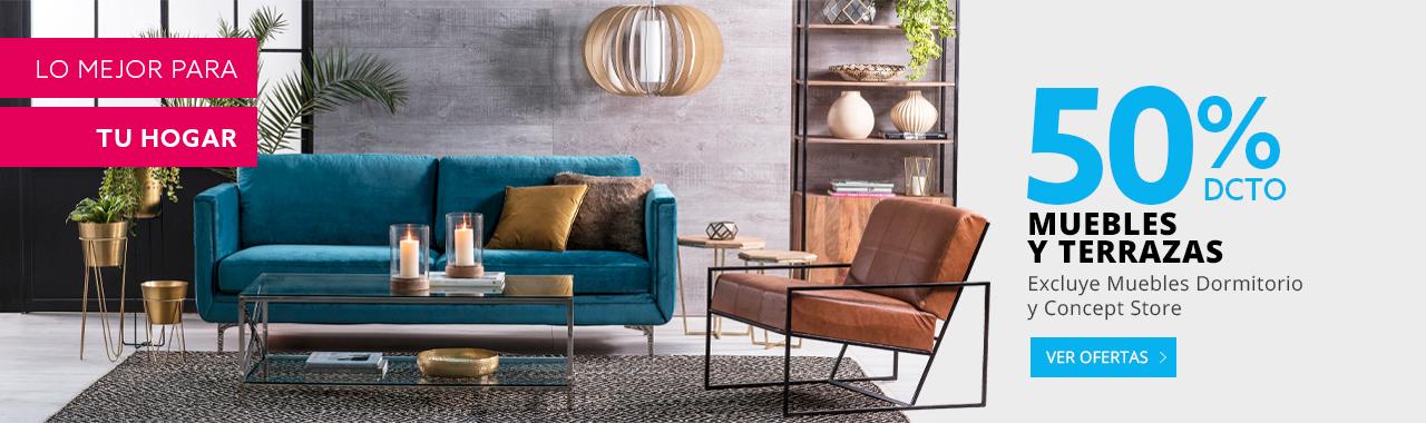 50 por ciento de descuento todo medio en muebles y terrazas