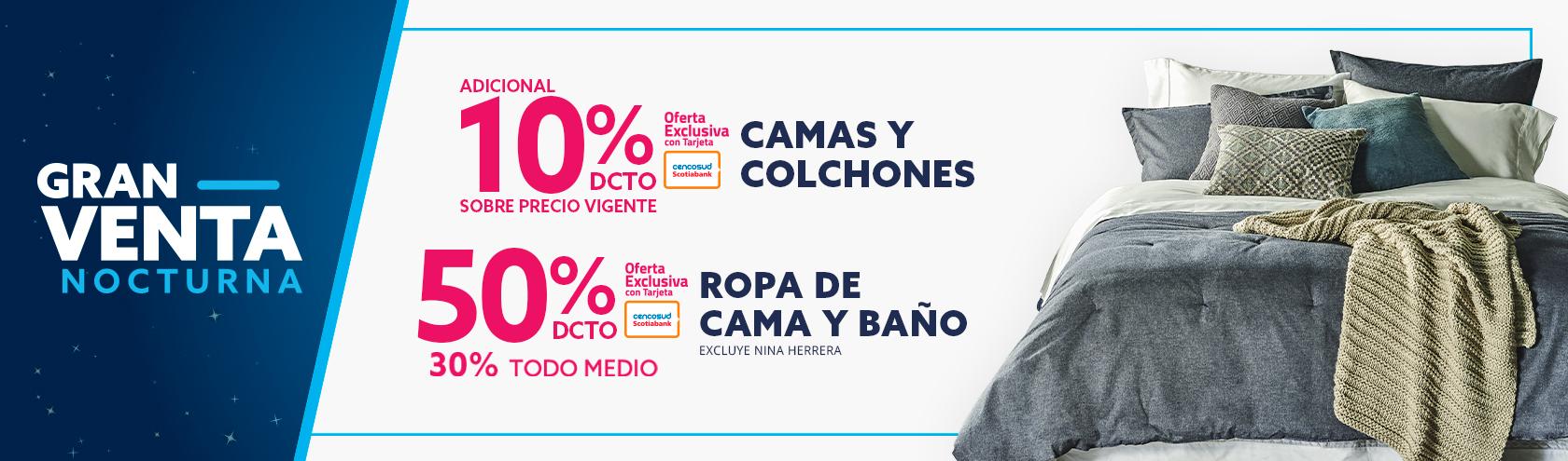 10% dcto adicional sobre precio vigente en camas y colchones con Tarjeta Cencosud