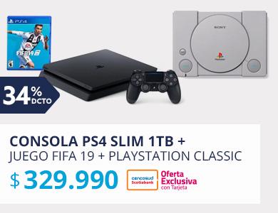 CONSOLA PS4 SLIM 1TB + JUEGO FIFA 19 + PLAYSTATION CLASSIC